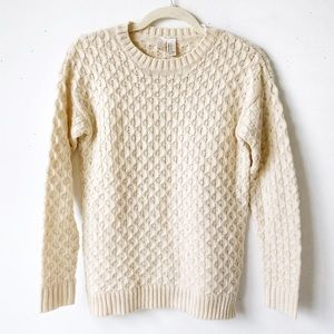 XXI Cream Chunky Cable Knit Pullover Sweater